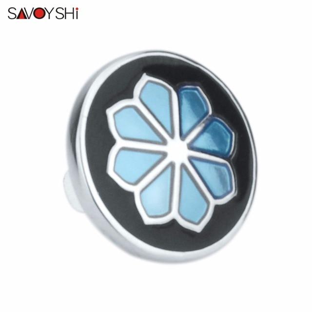 Savoyshi синий/цветок из черной эмали в форме мужчины отворот
