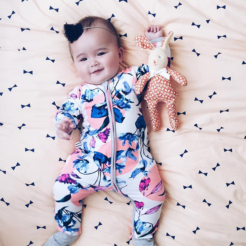 Rare Floral Wondersuit Oriental Printed Long Sleeve Baby Boy Girl Clothes 100% Cotton Jumpsuit Tiny Cottons Baby Rompers Newborn