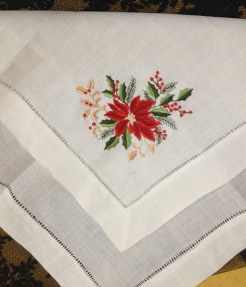 Set Of 12 Fashion Linen Dinner Napkins Table Napkin 20x20-inch Embroidered Floral Vintage Tea Napkins For Special Occasions