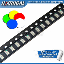 100pcs 1206 SMD LED diodes light  yellow red  green blue White  new and original hjxrhgal
