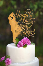 Mirror Gold Happily Ever After Bride and Groom Silhouette Wedding Cake Topper Stand for Decoration Accessory
