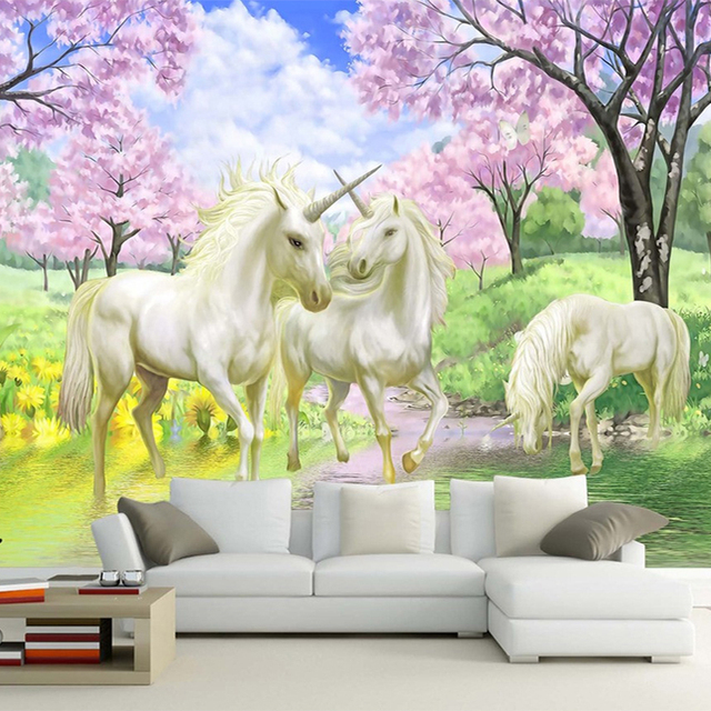 unicorn 3d bedroom background wall murals wallpapers dream tv living decor cherry landscape zoom papers mouse landscapes aliexpress
