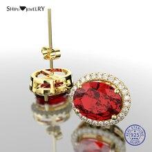 Shipei 100% 925 Sterling Silver Stud Earring Fine Jewelry Yellow Gold Oval Ruby Aquamarine Stud Earrings for Women Birthday Gift