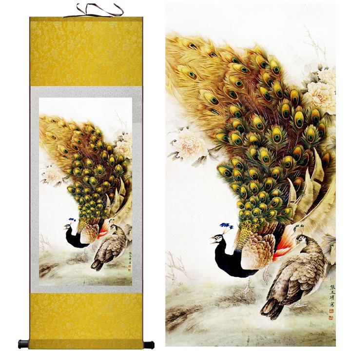 طاووس نقاشی هنری دم خود را تکه تکه می - دکور خانه