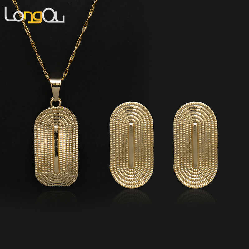 High quality Dubai Gold Color Jewelry Set Fashion African Jewelry Fan-Shaped Dangle Earrings  Necklace Set For Women Gift