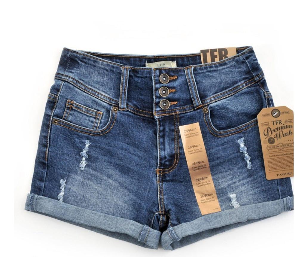 2016 summer new European high waist denim shorts female hole straight Foreign trade single-breasted brand slim short jeans women