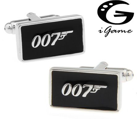 Promotion!! 007 Cufflinks black color fashion novelty james bond movie design copper material free shipping image