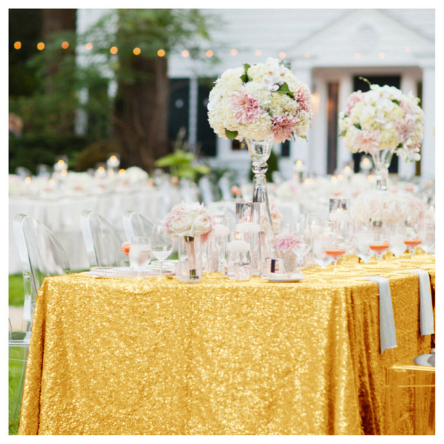 Shinybeauty Sequin Tablecloth 90x156inch Sparkly Gold Color Table Overlays For Wedding Party Birthday Decoraion
