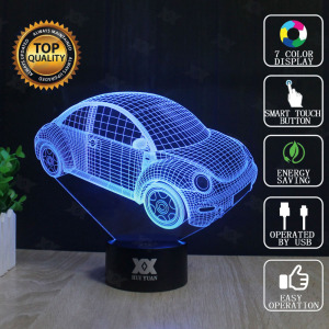 Cartoon Car 3D Lamp Motorcycle Lamp LED Novelty Night Lights USB Light Child's Birthday Present Surprise Gift HUI YUAN Brand