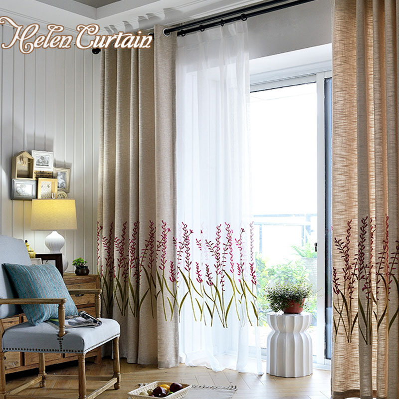Modern Embroidered Curtains Leaves Curtains For Living Room Linen Breathable Purple Flowers Curtains For Bedroom FlyingDancing06