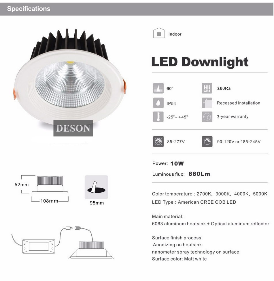 Dhl cree reflector led cob downlight dimmable10w 60 degree recessed dhl cree reflector led cob downlight dimmable10w 60 degree recessed ceiling spot down light commercial lighting store room home in downlights from lights aloadofball Image collections