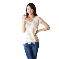 Women Lady Hollow Out Splicing Tops Short Sleeve Chiffon Solid Blouse Shirt Pearls Flower Neck Lace