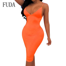 FUDA Sexy Deep V Neck Backless Summer Dress Neon Green Pink Spaghetti Bodycon Sundress Sleeveless Package Hip Slim