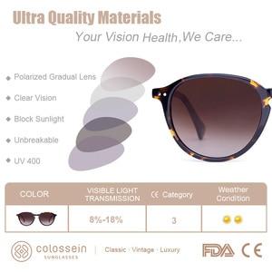 Image 3 - COLOSSEIN Sunglasses Women Vintage Cat Eye Coating Sun Glasses Polarized Black Brown Frame Men UV400 handcrafted Gafas De Sol