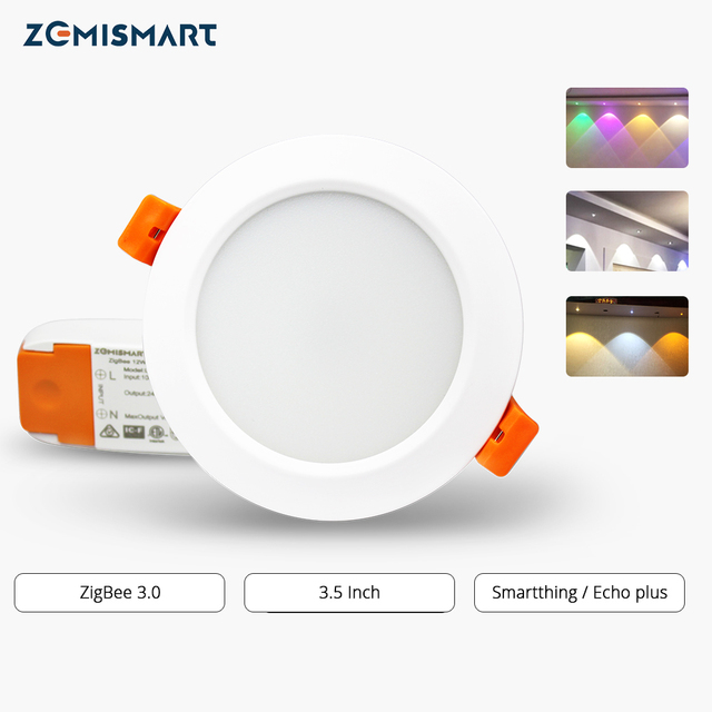 ZigBee 3.0 Downlight Kit Smart RGBW Led Recessed Ceiling Light 12W Compatible with Smartthings Hub Echo plus Smart Lighting