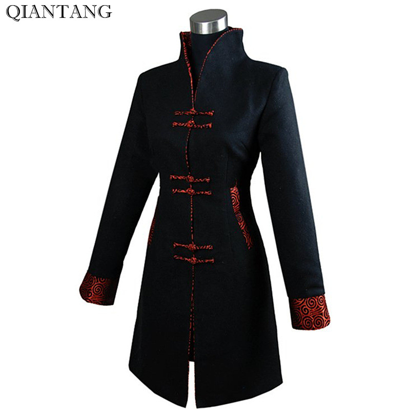 Black Winter Outerwear Women s Cashmere Jacket Long Coat Size S M