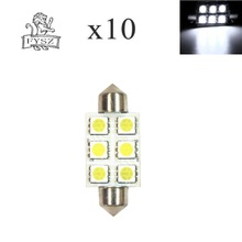 10pcs 3W 6 Festoon 39mm LED 5050 Auto Lâmpada do Bulbo SMD 6000k 200lm Branco Car Light Reading 5050/indicador/Lâmpada Telhado (DC/12V)