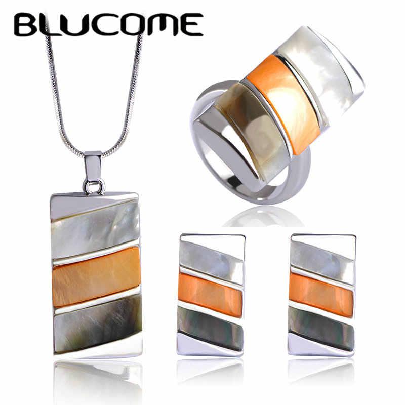 Blucome Luxus Bijuterias Shell Dubai Schmuck-Sets Marke Frauen Hochzeit Ringe Platz Halskette Ohrringe Ring Set Bijoux Brincos