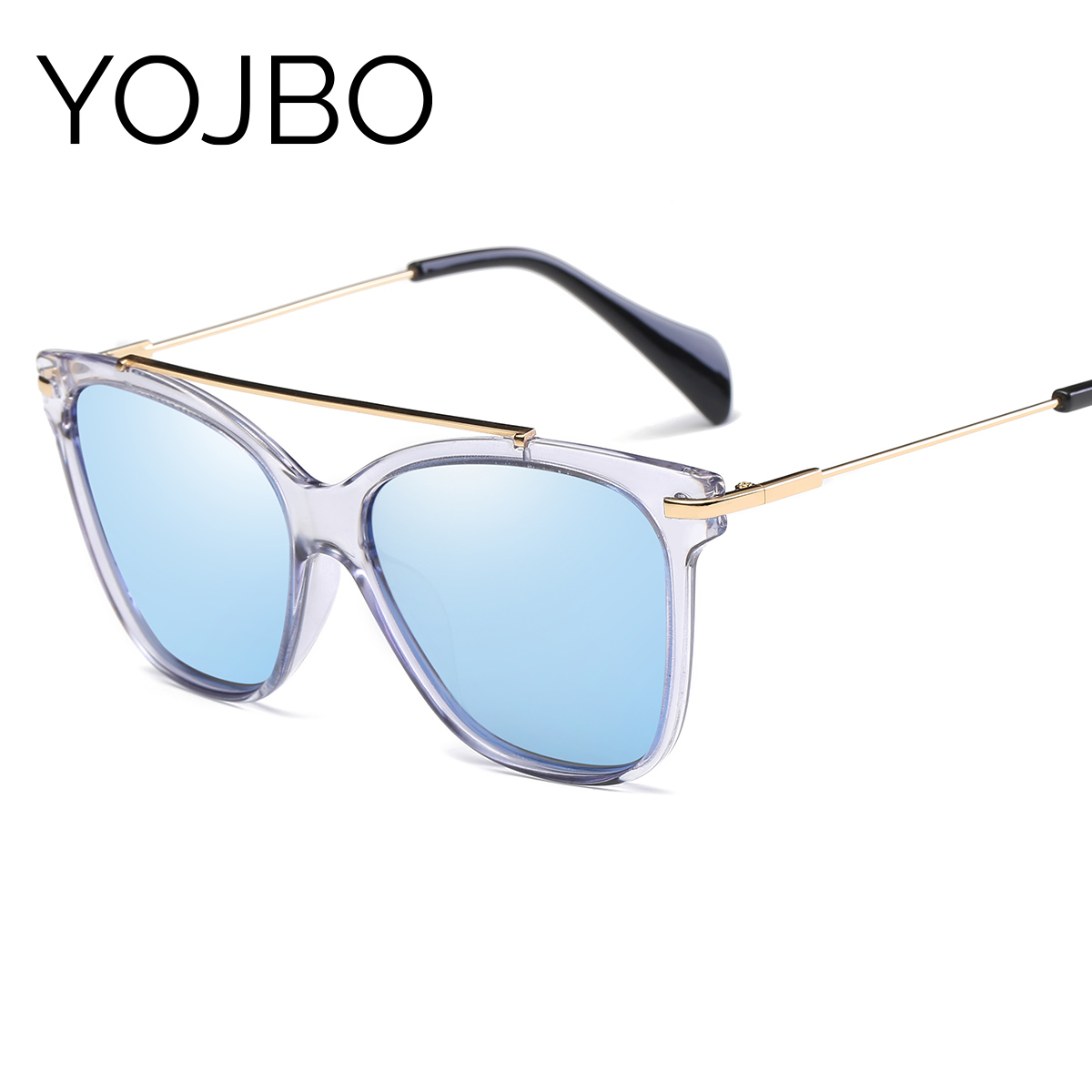 YOJBO Cat Eye Polarized Women Sunglasses 2018 Fashion Retro Mirror Sun Glasses UV400 Alloy Vintage Brand Designer Glasses