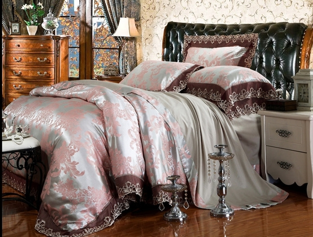 Palace Designer Bedding/Modal Silk Bed Sheets/luxury Wedding Bed Set Lace Bed  Sheets