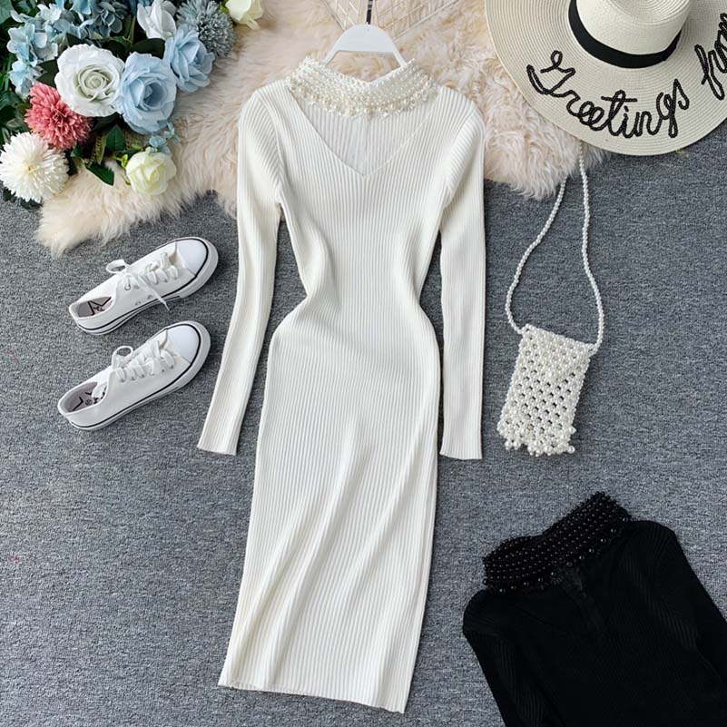 NiceMix Elegant knitted dress women Pearl beading autumn sweater Long sleeve bodycon winter vestidos