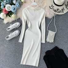 NiceMix Elegant knitted dress women Pearl beading autumn sweater Long sleeve bodycon winter vestidos