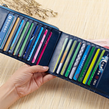 New Senior Wax Oil Genuine Leather Long Thin 20 Card Bag ID Holders Hasp Zip Wallet Zero Purse Large Banknote Position Bank Card