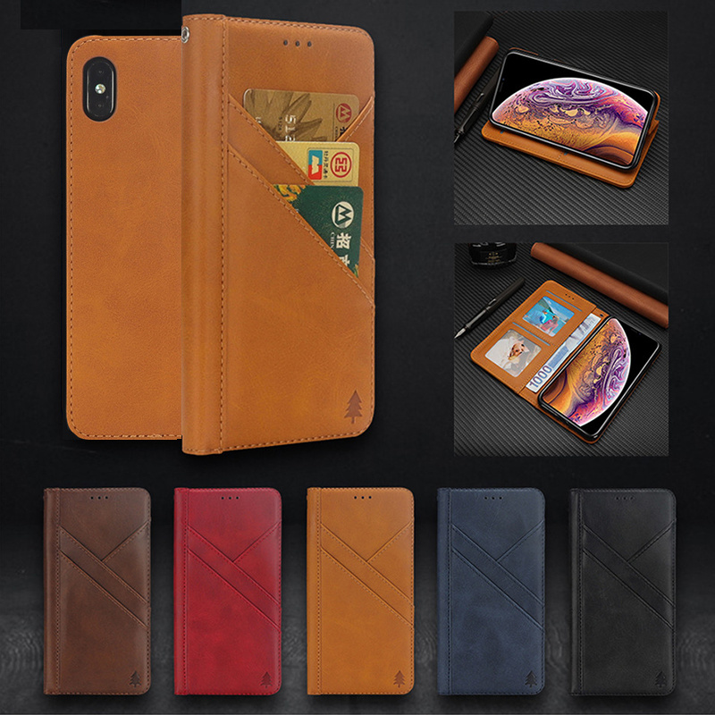Multifunction Card Holder Wallet Flip Case for Iphone X Xs Xr Max 8 7 6 6s Plus Mujer Luxury Leather Stand Magnetic Phone Cover