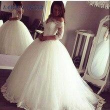 vestido de novia 2019 Lace Applique Boat Neck Half Sleeve Wedding Dresses Robe De Mariage robe mariee Princesse Bride Dress
