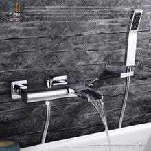 Хромированный настенный смеситель для ванной комнаты, смеситель для ванны с ручной насадкой для душа, смеситель для душа, горячий и холодный водопад, латунь, torneira