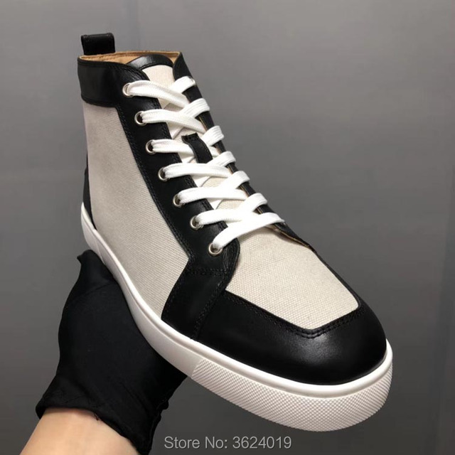 High Cut cl andgz Men White Cloth Rivets Outdoor Sports Red bottoms Shoes  For man Sneakers Leather Loafers Flat Footwear Lace Up bf9aa932acf0