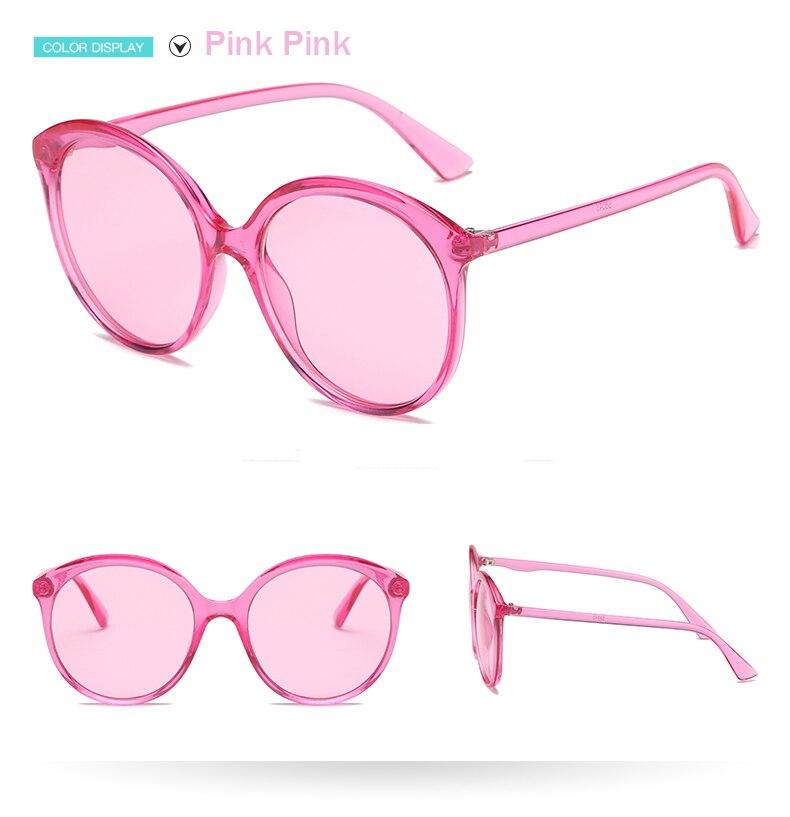 Очки солнцезащитные женские круглые ярко розовые uv400