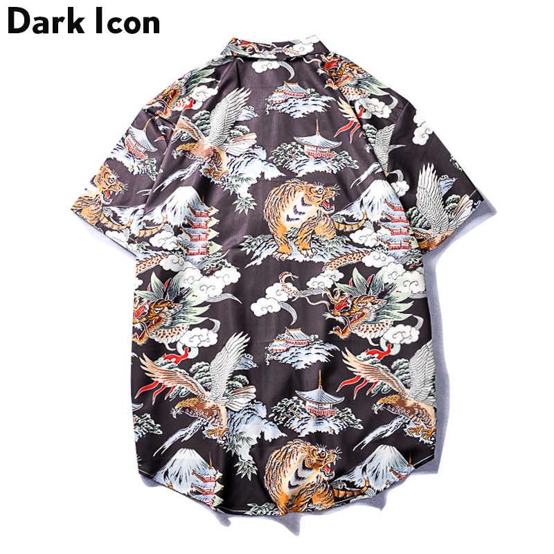 ダークアイコン虎レトロシャツ男性半袖 2019 夏のヒップホップシャツストリート男性のシャツ男性トップ
