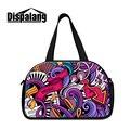 Diseño artístico dispalang música mujeres bolso de diseñador de la marca de los hombres de viaje bolsas de lona con bolsillo zapatos bolsa de viaje de fin de semana para la muchacha