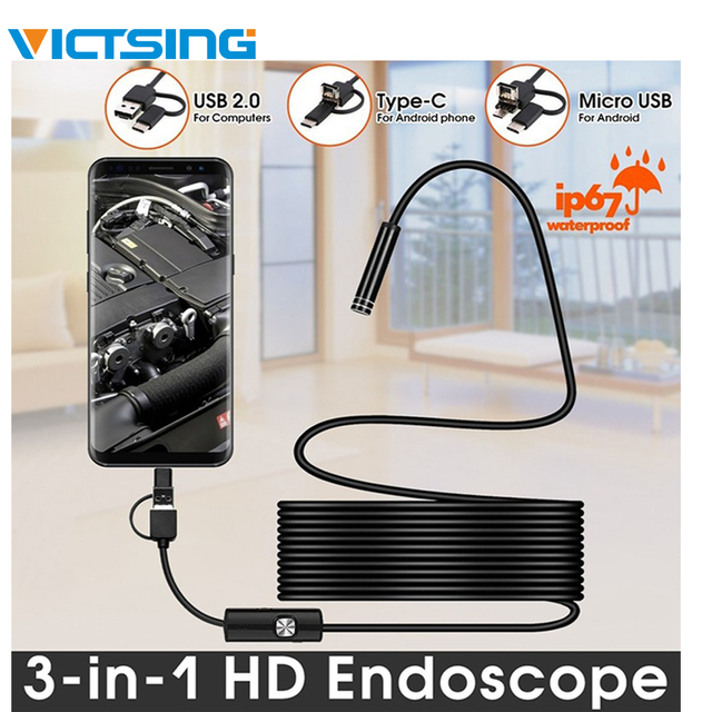 VicTsing 10m 7mm Endoscope Camera Wifi Android Type C USB Borescope HD 6 LED Snake Camera For Mac OS Windows Car Repair Tools