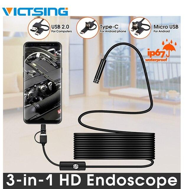 VicTsing 10m 7mm kamera endoskopowa Wifi Android type c USB boroskop HD 6 LED kamera węża dla Mac OS Windows narzędzia do naprawy samochodu