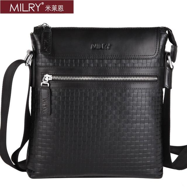 Free Shipping Italian Brand MILRY 100% Genuine Leather shoulder  Bag for men fashion business Messenger bag black  S0139-1
