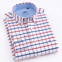 Men S Long Sleeve Oxford Plaid Striped Button Down Dress Shirt With Single Chest Pocket 100