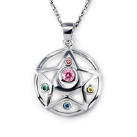 2017 Cute Silver Choker Necklace 925 sterling silver Pendant Sailor Moon Woman Girl Sailor Moon Crystal Power Make Up Jewelry