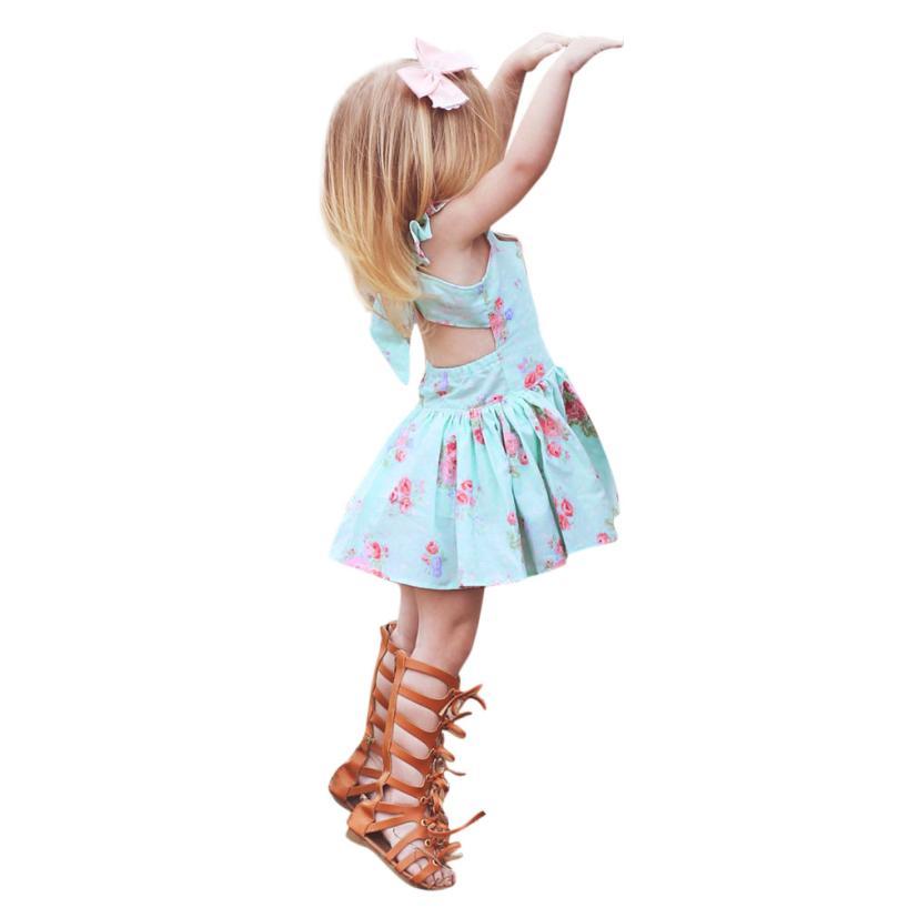 Girls Dress Casual Print Pattern Ruffled Sleeveless Dresses BabyGirls Backless Bow Short Princess Dress for Cute Kids 18Apr5