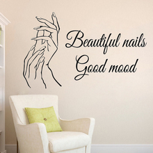 Manicure Wall Sticker Nail Salon Quote Decals Beautiful Nails Mural Polish Decor Beauty Window Decal AY1091