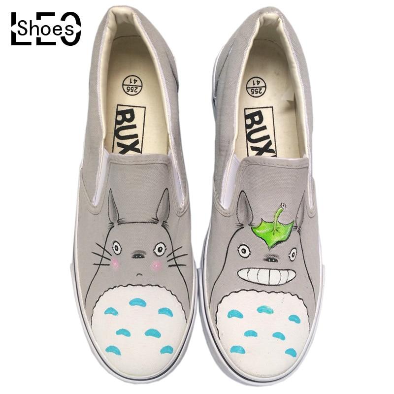 Niños Alpargatas Totoro de Dibujos Animados para Niños Zapatos de Lona de la Pintada Zapatos Slip