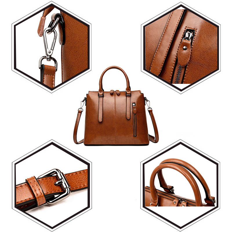 Brand Wax Oil leather tote bag handbags women's genuine leather shoulder bags female vintage casual hand bags ladies black brown