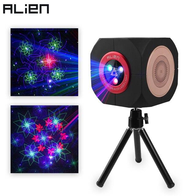 ALIEN RGB ชาร์จลำโพงบลูทูธไร้สายเลเซอร์โปรเจคเตอร์ Stage Lighting Effect สำหรับปาร์ตี้กลางแจ้ง DJ Disco วันหยุดคริสต์มาส เอฟเฟกต์แสงบนเวที    -