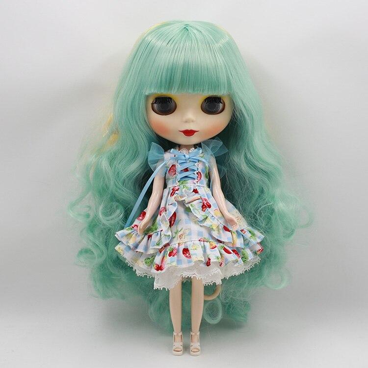 ФОТО Nude Blyth doll DIY green/yellow color bangs long hair factory blyth dolls gifts for girls