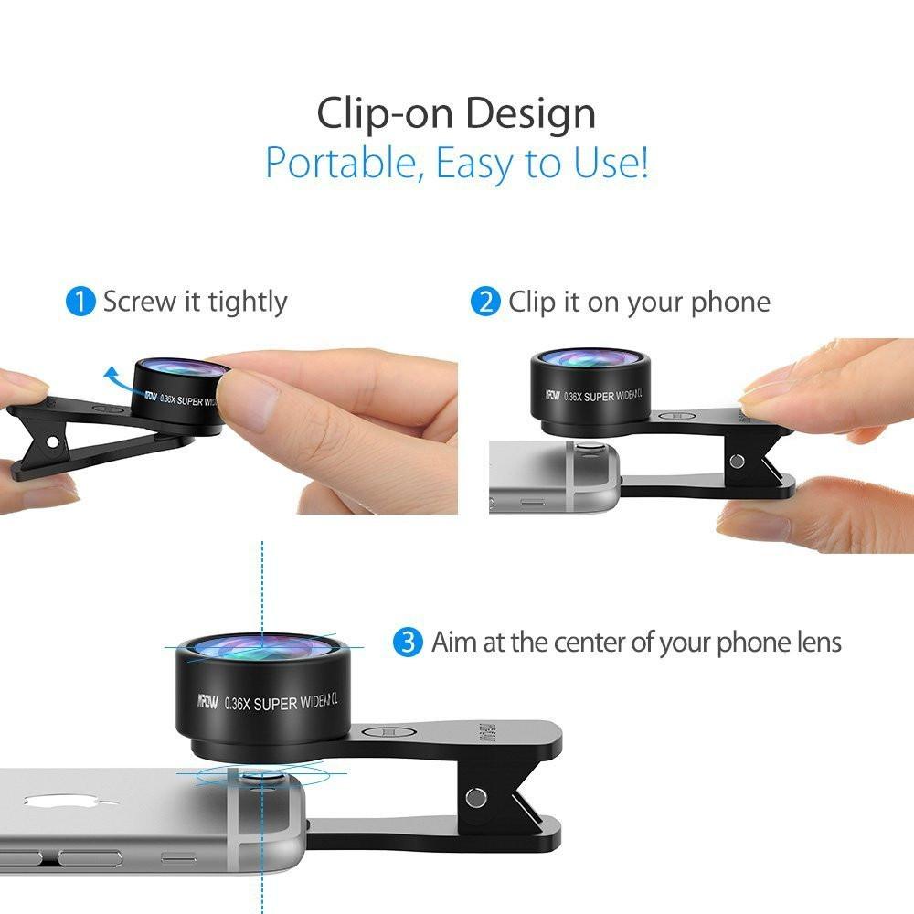 Original Mpow MFE4 Clip-On Phone Camera Lens Kits 180 Degree Fisheye Lens + 0.36X Wide Angle + X Macro Lens for Cellphones 9