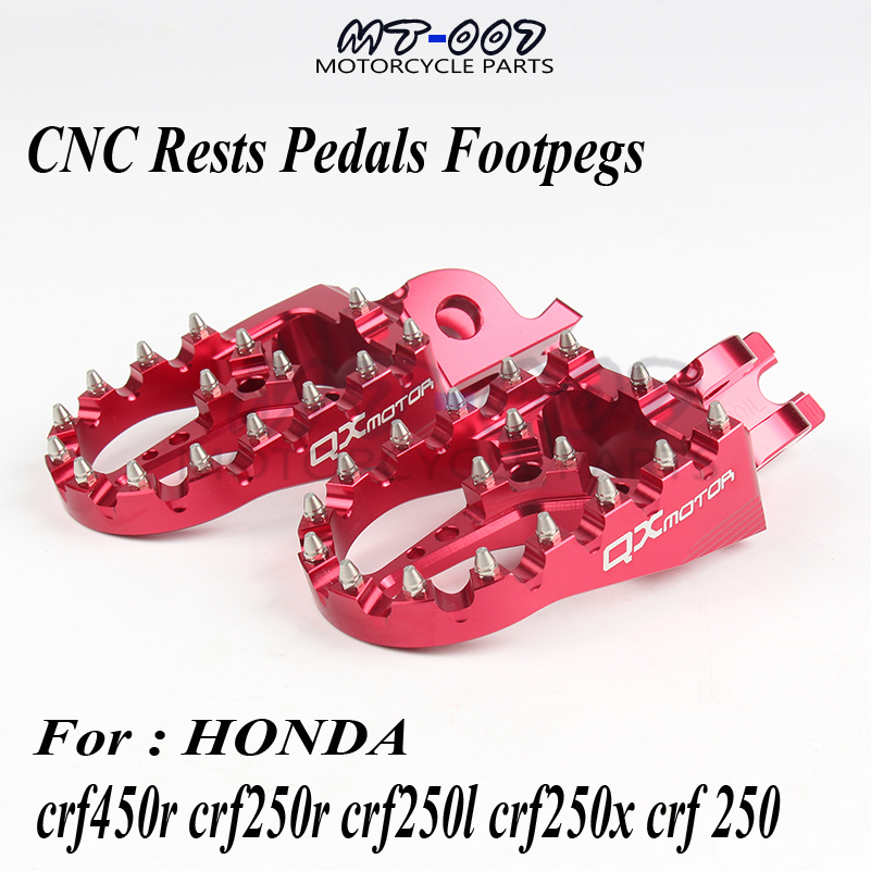 CNC Billet MX Foot Pegs Rests Pedals Footpegs For Honda crf450r crf250r crf250l crf250x crf 250 Motorcycle Parts QXMOTOR Logo nicecnc foot peg rests footpegs for honda cr 125r 250r crf250r crf450r 2018 crf250x crf450x crf 150r 450rx 250l m 250 rally 2017