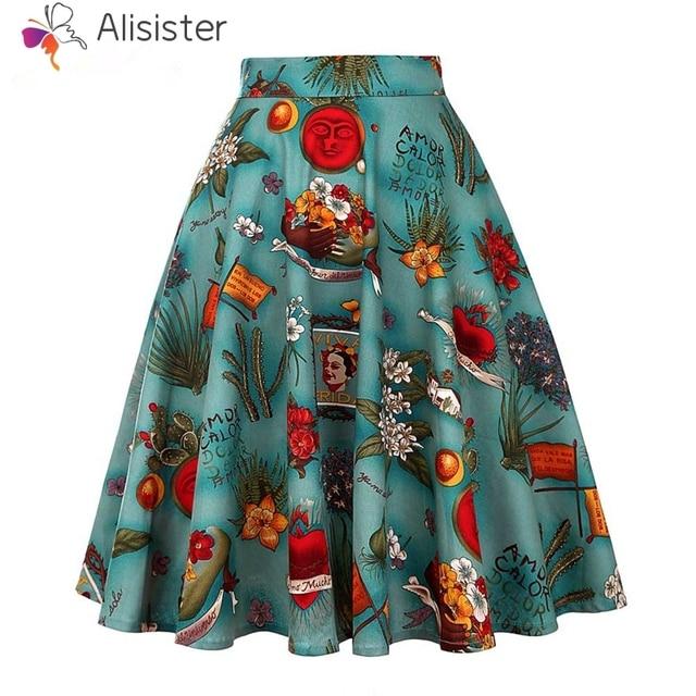 b1dff1dee Western Style Mid-length Skirt Women Summer 1950s Vintage Green High Waist  Pleated Zipper Skits