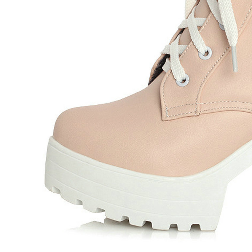 b3043cb8cb27 ... Shoes Size 33--43 Pink. . Buckle Square High Heels Lace Up Ankle Lady  Fashion Boots Round Toe Platform Short Plush Winter. sku  32528682966