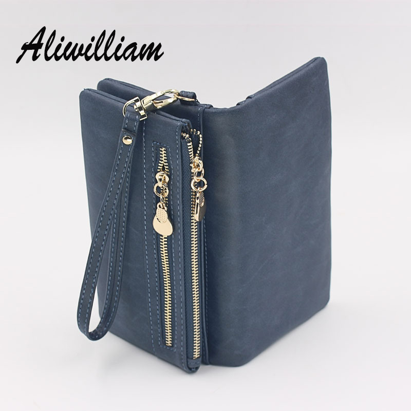 Retro Wristlet Women Clutch Bags Zipper Wallets Nubuck Leather Handbag Big Capacity Female Card Coin <font><b>Purse</b></font> Clutches For Ladies